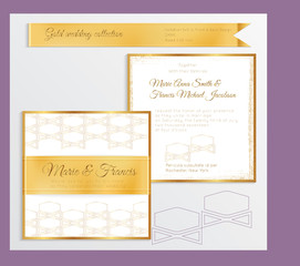 Luxury wedding invitation template with gold shiny realistic ribbon