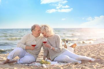 Happy senior couple drinking wine on sea beach