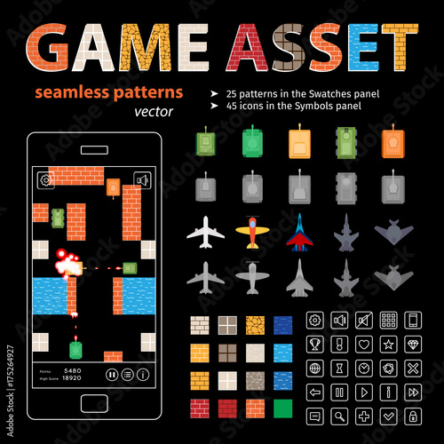 Game Asset Vector Seamless Patterns and Sprites