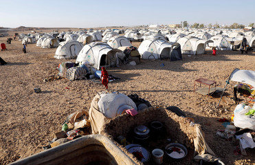 A view of a refugee camp for people displaced by fightings between the Syrian Democratic Forces and Islamic State militants in Ain Issa