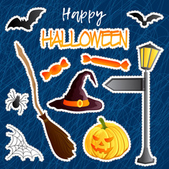 Vector set of festive stickers. Halloween theme. Traditional holiday symbol Jack o lantern, witch hat, broom, bat, web, spider, sweets. Abstract doodle background.