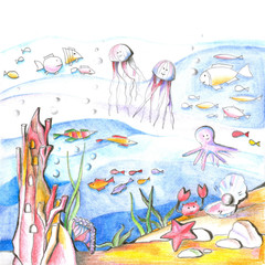 Mysterious undersea world. Drawing with colored pencils for children.