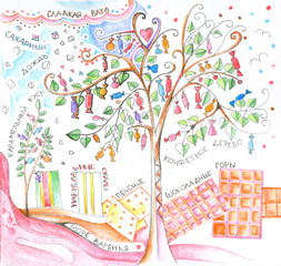 Sweet country. Candy tree, candy floss, sugar rain, caramel bush, marmalade rocks, cookies, chocolate mountains and sea of jam with inscriptions in Russian. Hand drawn picture by colored pencils.