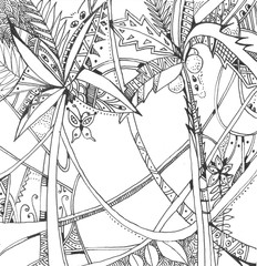 Exotic rain forest. Black and white hand drawn stylized picture.