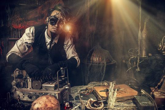 steampunk man scientist