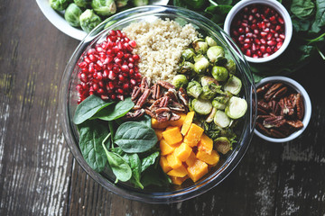 Delicious Fall Salad with brussels sprouts and butternut squash