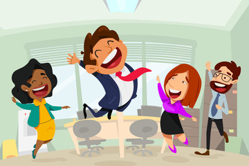 Happy Business People in Office Cartoon Illustration