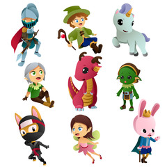 Fantasy Characters Icons Illustrations