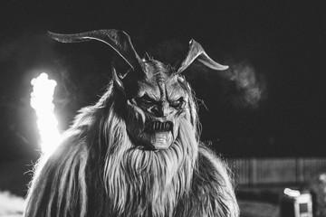 monochrome portrait of a scary looking krampus
