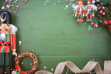 Vintage green wood Christmas holiday background