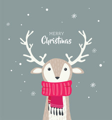 merry christmas card with cute dear wearing a winter scarf