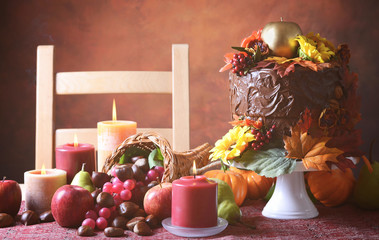 Vintage style Thanksgiving Fall cake