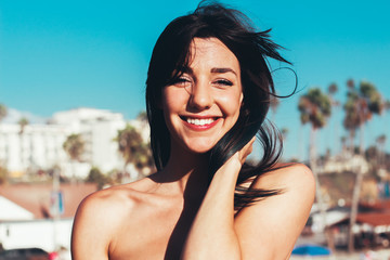 Portrait of a beautiful young woman with cute smile