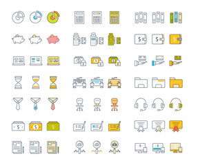 Set Vector Flat Line Icons Accounting and Finance