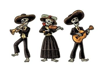 Dia de los Muertos. Skeleton in the Mexican national costumes