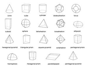 Basic 3d geometric shapes. Isolated on white background. Vector illustration.
