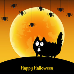 Cute  Halloween greeting card with  fun  black cat.