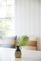 Succulent in vase in breakfast nook in kitchen