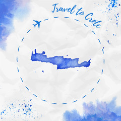 Fotobehang Schilderingen Crete watercolor island map in blue colors. Travel to Crete poster with airplane trace and handpainted watercolor Crete map on crumpled paper. Vector illustration.