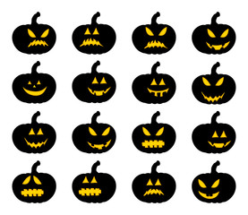 pumpkin smile silhouette set vector symbol icon design. Beautiful illustration isolated on white background