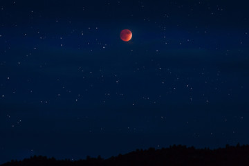 Starry Night and Blood Moon Eclipse