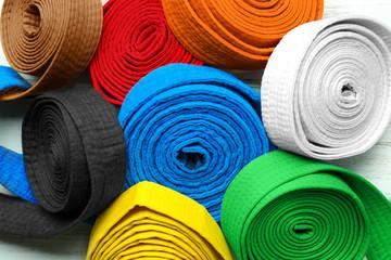 Colorful karate belts, closeup
