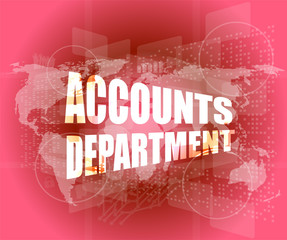 accounts departments words on digital screen background with world map