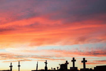 Beautiful sunset view from a hilltop cemetery