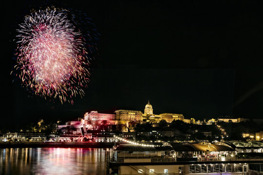 Fireworks over the Danube in Budapest, Hungary