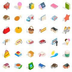 Cute icons set, isometric style