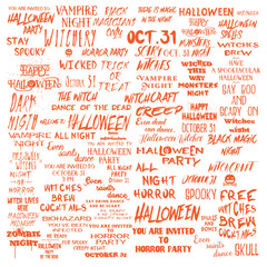 Halloween lettering phrases overlay set. Scary quotes. Spooky holiday typography. Calligraphy photo graphic and flyer invitation design element. Hand made signs. Vector.