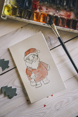 Close-up of handmade Christmas card