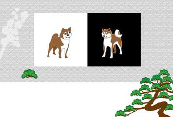 柴犬と松の木の和風イラストポストカード