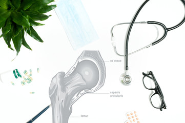 Workplace of doctor with medical items