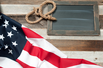 USA flag.  American flag on wood background.