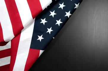 USA flag.  American flag on wood background.