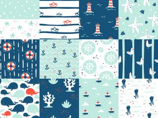 Sea marine nautical ocean symbols seamless patterns elements