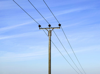 Overhead electricity pole and cables