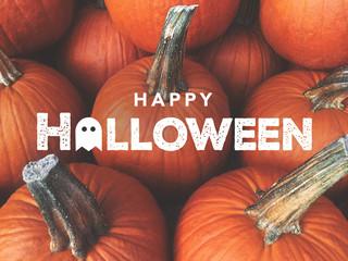 Happy Halloween Typography With Pumpkins Background Fotoväggar
