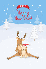 New year 2018 card with dog and reindeer