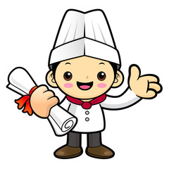 Happy Chef Character Receive a certificate of completion. Vector illustration isolated on white background.