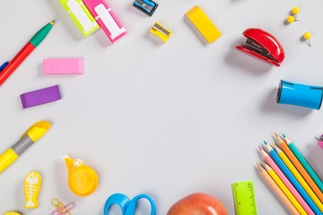School and office supplies on tablet.