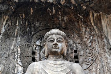 The main Buddha Statue around Longmen Grottoes on the hill. Pic was taken in September 2017