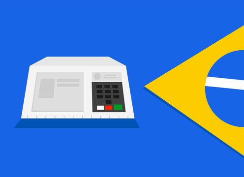 Electronic machine voting urn flag Brazil  illustration