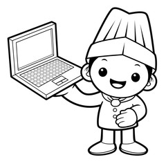 Black And White Chef Mascot is holding a laptop. Vector illustration isolated on white background.