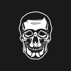 Abstract Skull Head Logo Vector Illustration For Wallpaper, Tattoo, T-Shirt, Pattern, Background, Emblem, etc