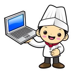 Happy Cook Character is holding a laptop. Vector illustration isolated on white background.