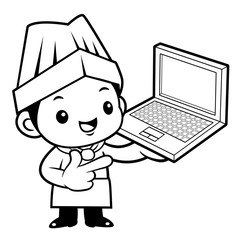 Black And White Cartoon Cook Mascot is promoting a laptop. Vector illustration isolated on white background.