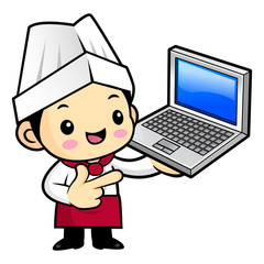 Cartoon Chef Character is promoting a laptop. Vector illustration isolated on white background.