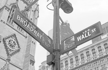 Wall Street road sign in Manhattan New York
